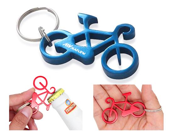 Llavero abrebotellas de aluminio con forma de bicicleta