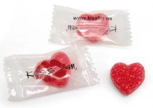 Caramelo de goma con forma de corazón personalizado
