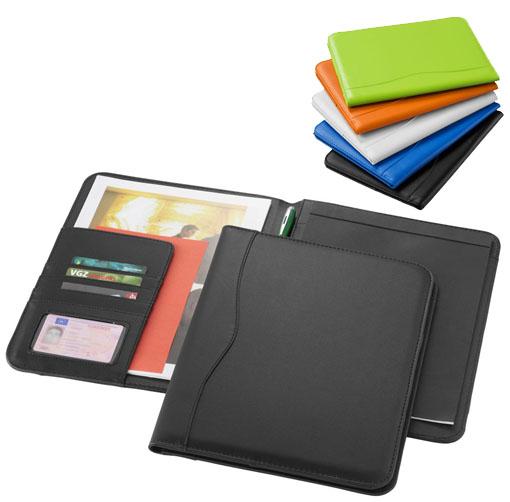 Portafolios A4 con bucle para bolígrafo, bolsillos para documentos y bloc de notas rayado de 20 páginas.