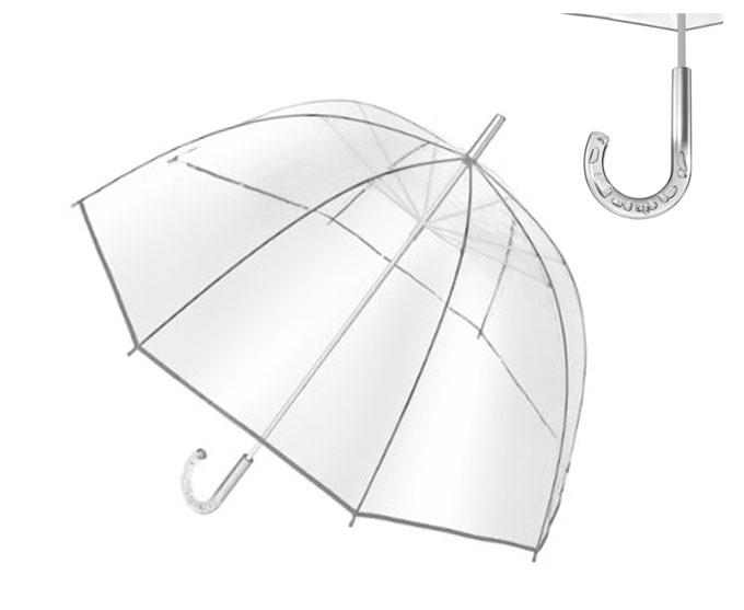 Paraguas burbuja transparente con eje y varillas metálicos