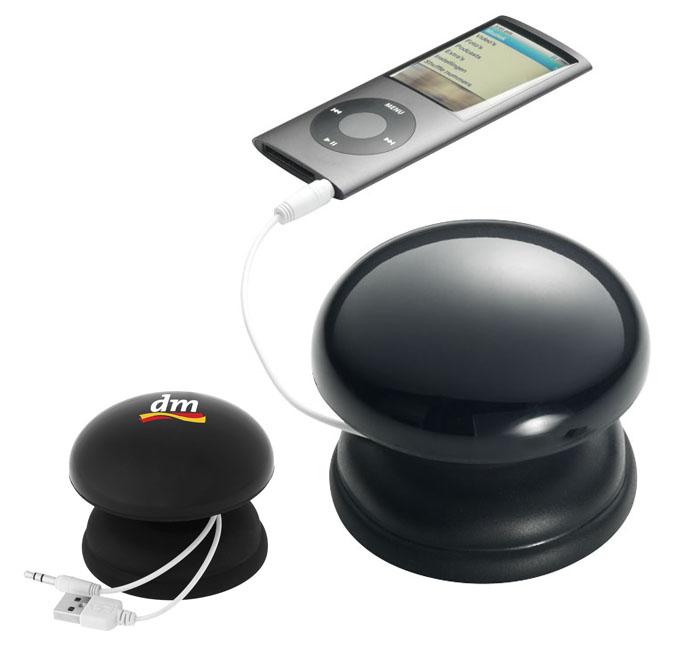 Altavoz de sobremesa de excelente sonido con altavoz amplificado de 2 vatios incorporado. Conector de audio de 3,5 mm