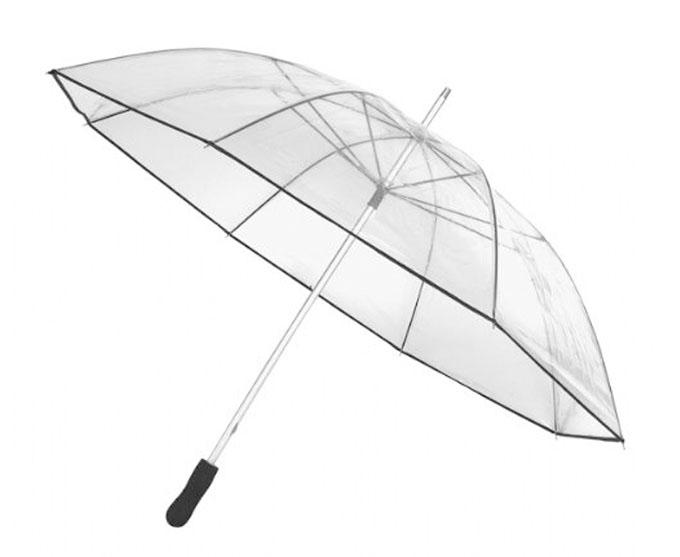 Paraguas transparente de 110 cm con varillas y puntas metálicos y mango de goma espuma