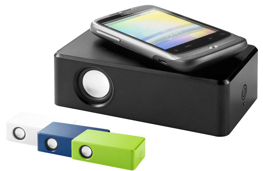 Altavoz por vibración. Coloca tu teléfono móvil sobre la superficie plana y escucha el sonido amplificado del altavoz interno. Fácil de usar. Sin necesidad de ajustes inalámbricos ni cables.