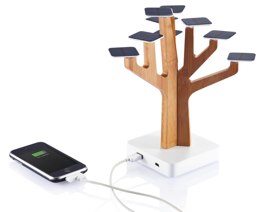 Cargador solar con forma de árbol y 9 paneles. Batería de litio de 1350mAh.