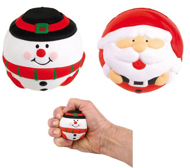 Pelotas antiestrés con forma de muñeco de navidad y de Santa Claus.