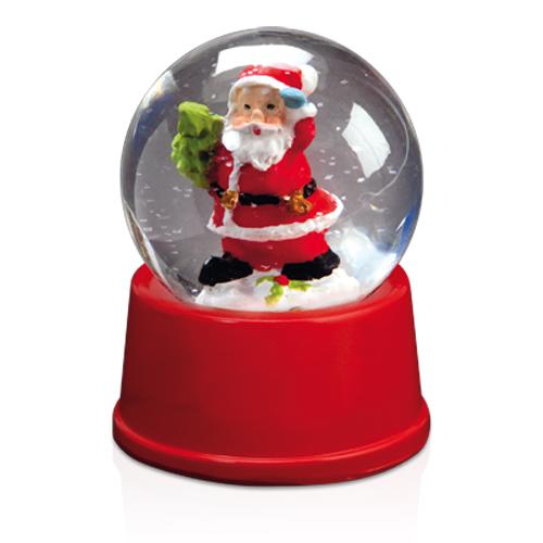 Bola de cristal con Santa Claus en su interior.