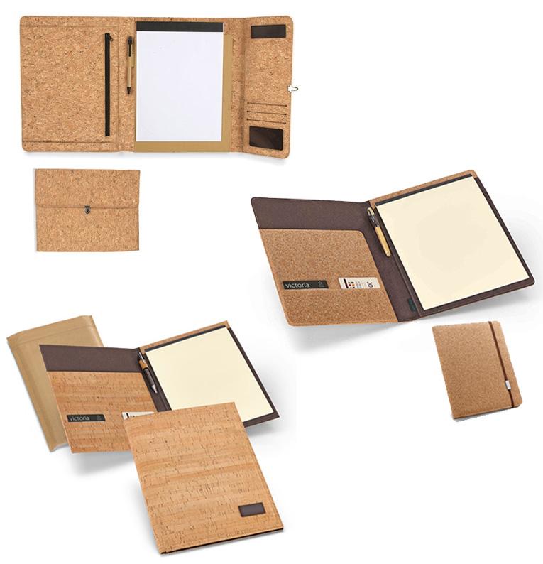 Elegante carpeta ecológica y portafolios A4 con bloc de notas interior.
