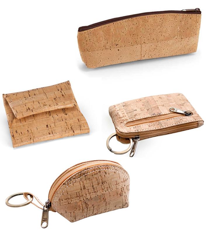 Prácticas y funcionales carteras y monederos fabricados en corcho.