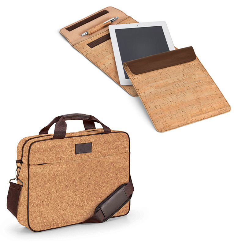 Práctico maletín porta ordenador y funda de tablet fabricados en corcho.