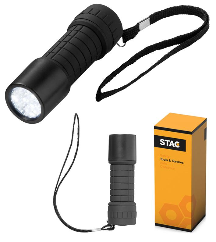 Linterna de 9 LED súper luminosos con pulsador de encendido / apagado.