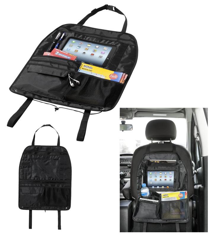 Práctico organizador multibolsillos adaptable al respaldo del asiento con compartimento especial para Ipad.