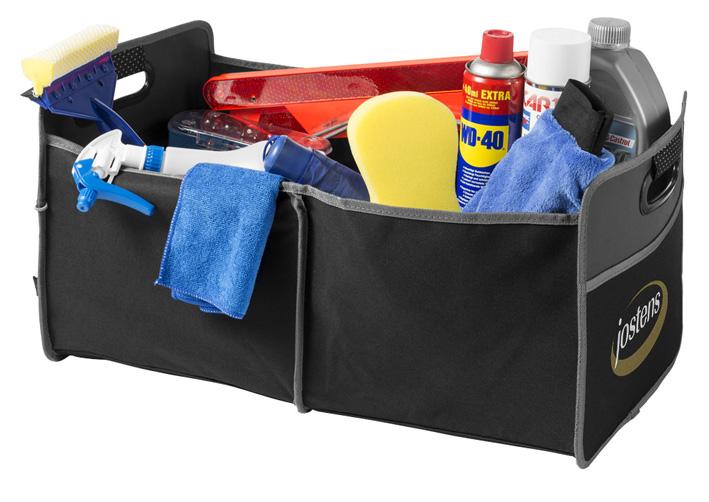 Necesario y práctico organizador de maleteros plegable con asas acolchadas.