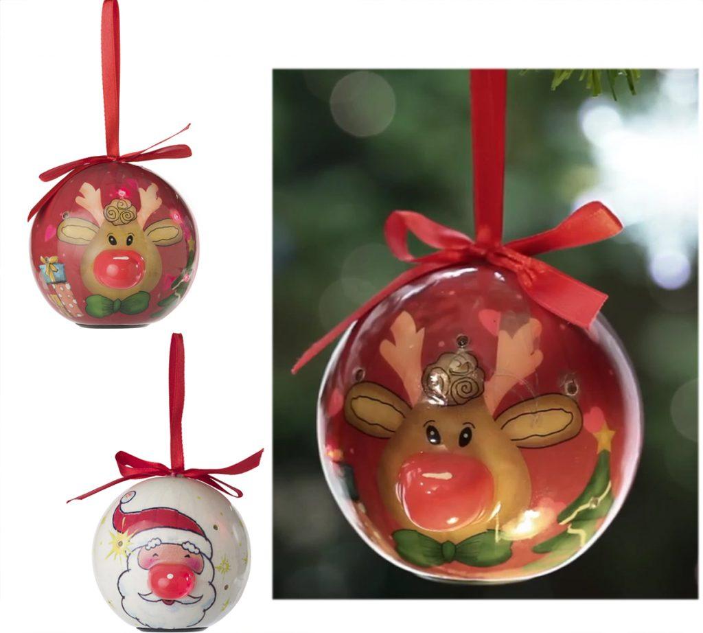 Bola de navidad con lazo de color rojo con 6 luces led.