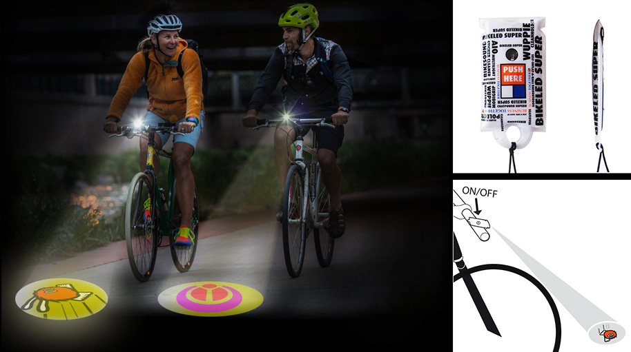 Linterna para bicicleta con proyección del logotipo y amplia superficie de marcaje.