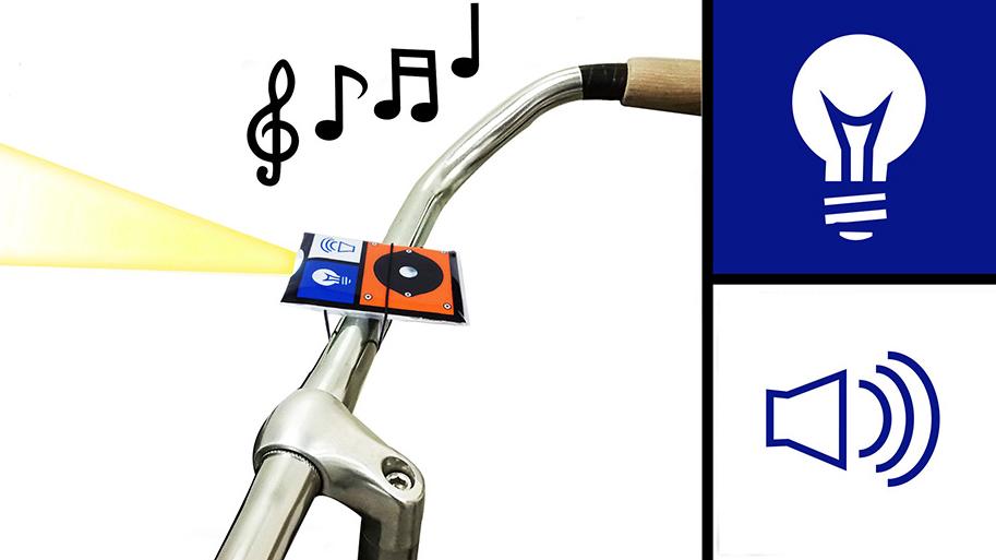 Linterna para bicicleta con timbre de 4 segundos con tu propia melodía.