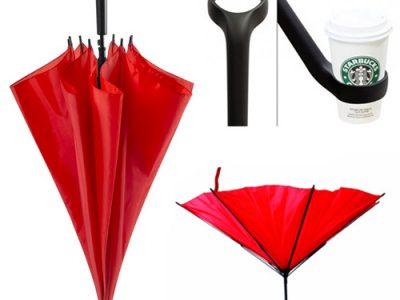 Paraguas con mango sujeta vasos