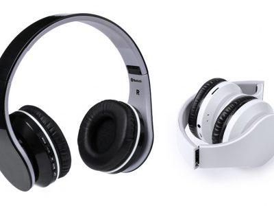 Auriculares de diadema plegables blanco y negro