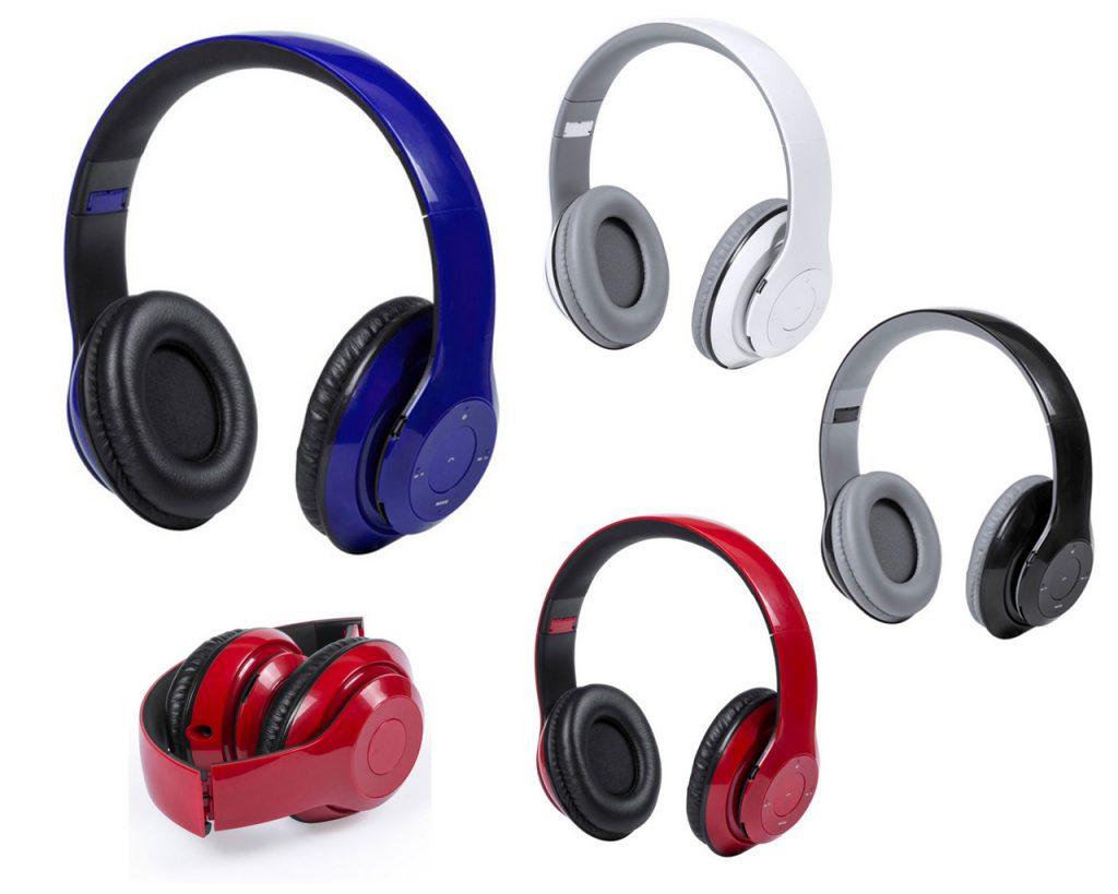 Auriculares plegables de diadema con conexión bluetooth. Con panel de control integrado en el auricular, función manos libres, radio FM, ranura para tarjetas mini SD