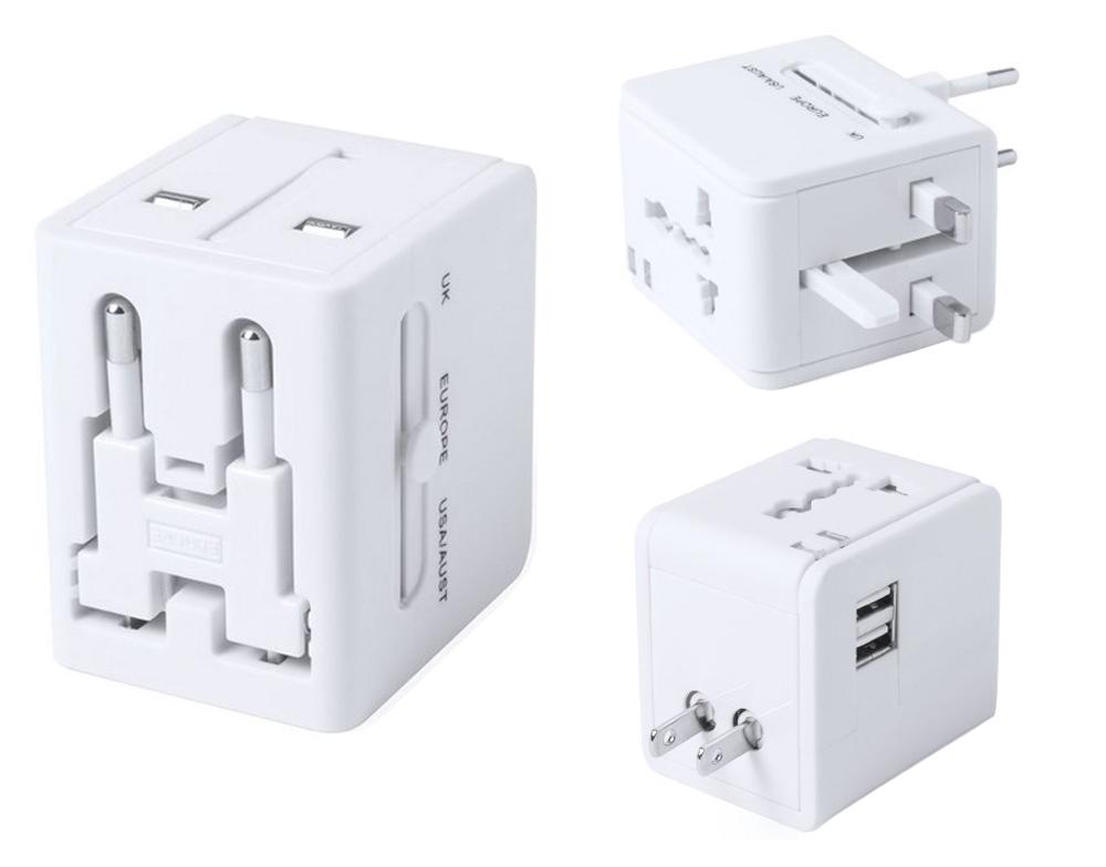 Adaptador de enchufes retráctil con salida USB dual, de diseño ultra compacto y portable, 2.100 mAh de capacidad de carga y de elegante acabado en color blanco.
