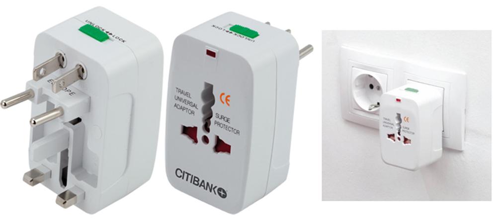 Adaptador de enchufes retráctil, de diseño ultra compacto y portable. incluye adaptadores multi región para USA, Europa, Asia y Reino Unido.