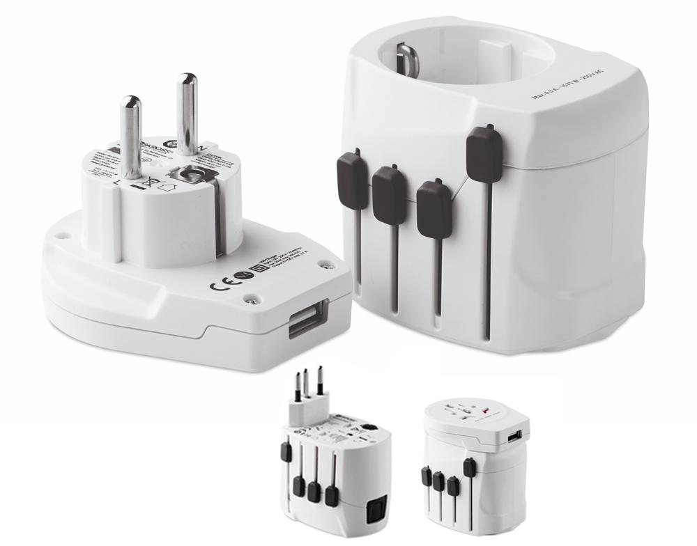 adaptador de viaje SKROSS de 3 polos, ideal para viajeros europeos (toma Schuko estándar). Apto para conectar dispositivos potentes, como ordenadores portátiles y secadores de pelo