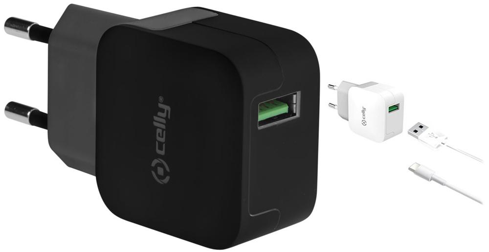 Cargador de viaje universal con un puerto USB de salida máxima 2,4A. Te permite cargar tu smartphone o tablet más rápido que un cargador convencional