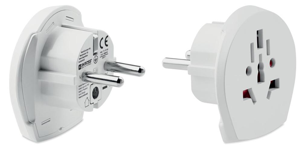 El adaptador universal SKROSS para Europa es ideal cuando se viaja en países donde se utiliza el enchufe Schuko estándar. Se puede conectar a todos los dispositivos de 2 y 3 polos.