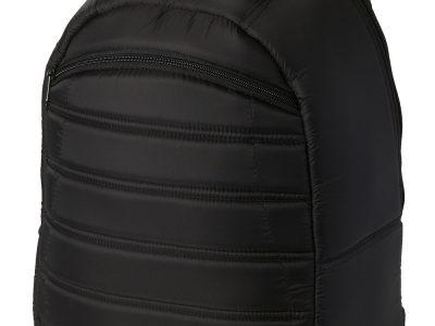 Mochila acolchada de diseño exclusivo con asa y hombreras acolchadas, bolsillo frontal con cremallera y compartimento principal grande con cremallera.