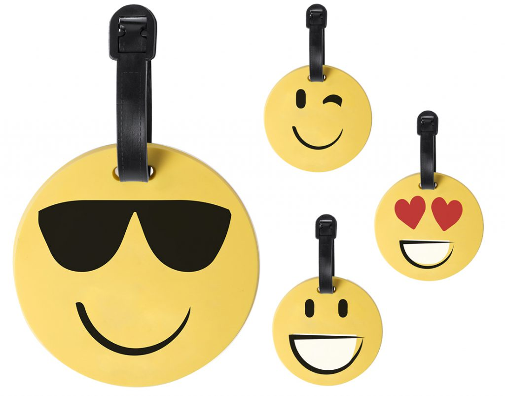 Identificador de maletas smile con 4 diseños diferntes.