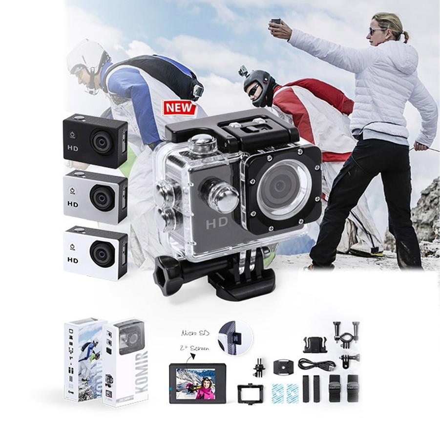 Cámara deportiva de alta calidad de captura de vídeo HD 720p, de diseño compacto y resistente, especialmente diseñada para uso intensivo. Incluye carcasa sumergible hasta 30m de profundidad y multitud de accesorios para ajuste en casco, manillar o cinturón, así como correas ajustables para cabeza y torso o un adaptador giratorio de 360º