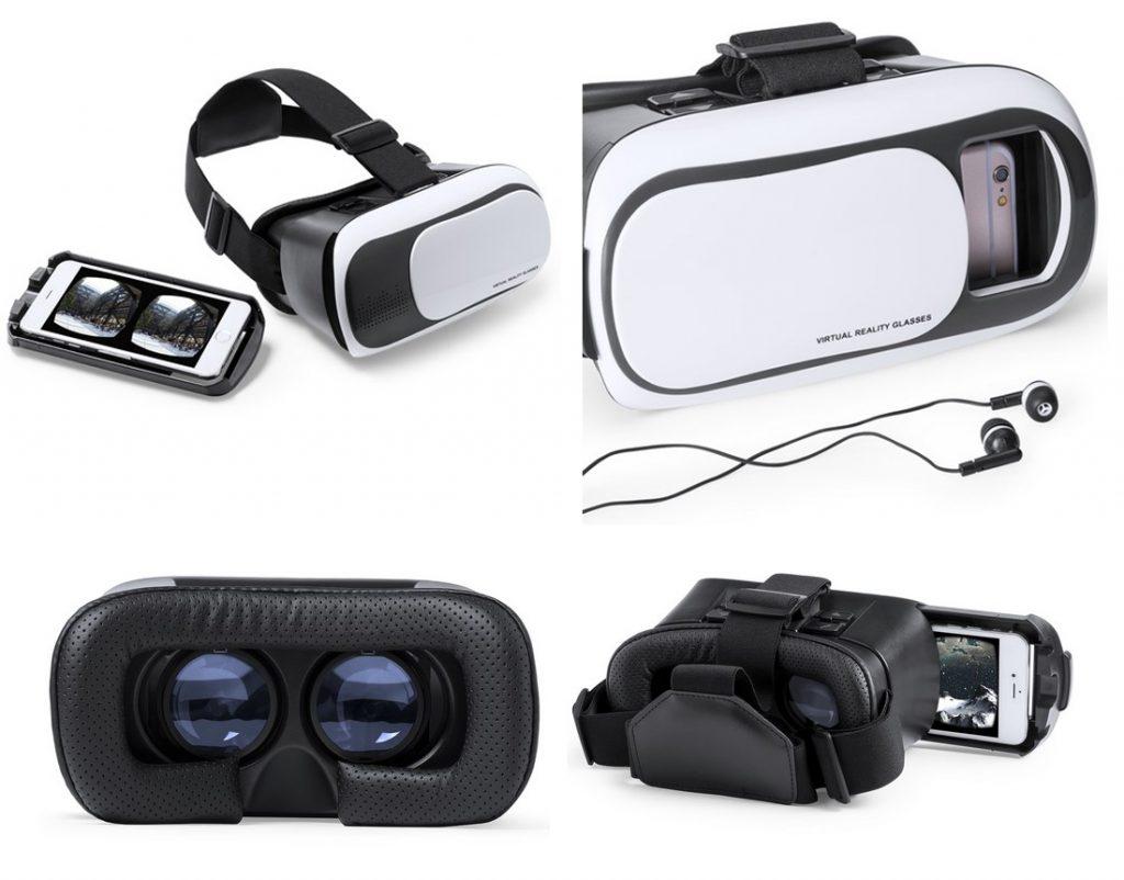 Gafas de realidad virtual con lentes y bandeja ajustables para todo tipo de smartphones.