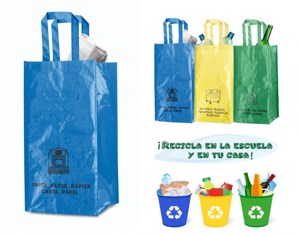 Set de 3 bolsas de reciclaje amarilla-verde-azul en resistente pp-woven laminado de 130g/m2 de acabado brillante.