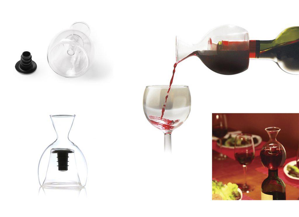 Decantador para vino en cristal soplado, con ajuste de seguridad