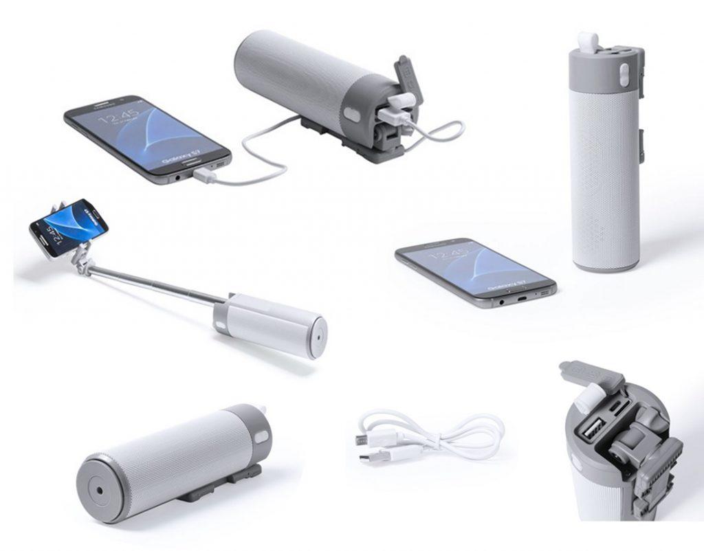 Divertido set tecnológico 3 en 1 con altavoz bluetooth, batería externa 2000mAh y paloselfie integrados.