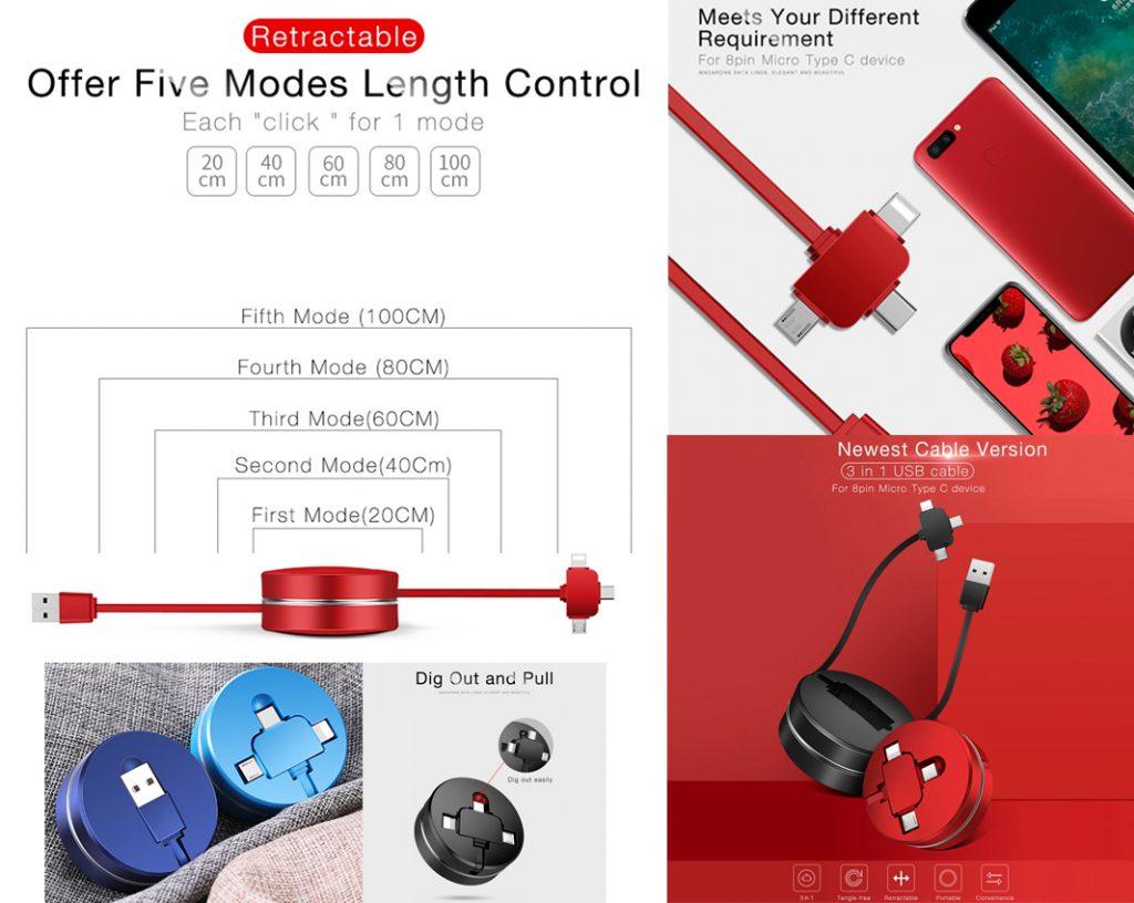 Elegante y práctico cable de carga para enrollable de 20 cm a 100 cm con conexiones para Android, iPhone y tipo C.