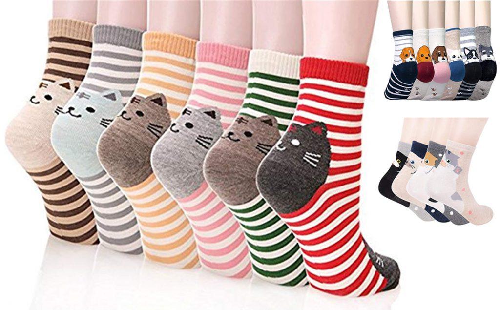 Calcetines personalizados con diseño de perros y gatos.