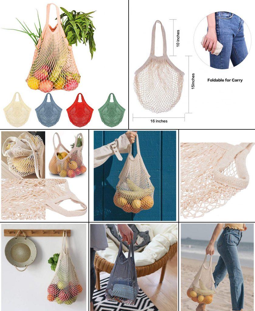 Bolsa de algodón rejilla para la comida