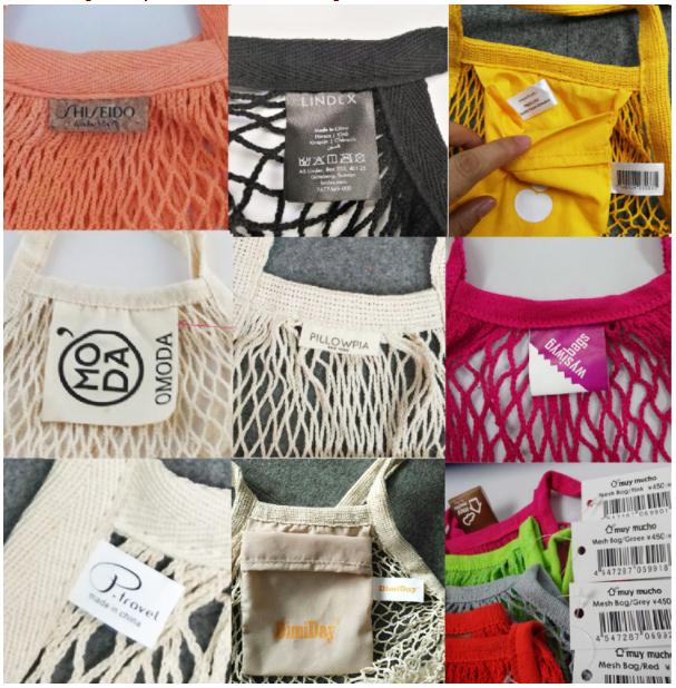 Bolsas de algodón etiquetas